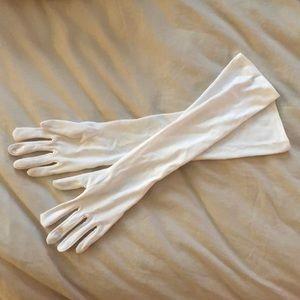 White elbow length costume gloves